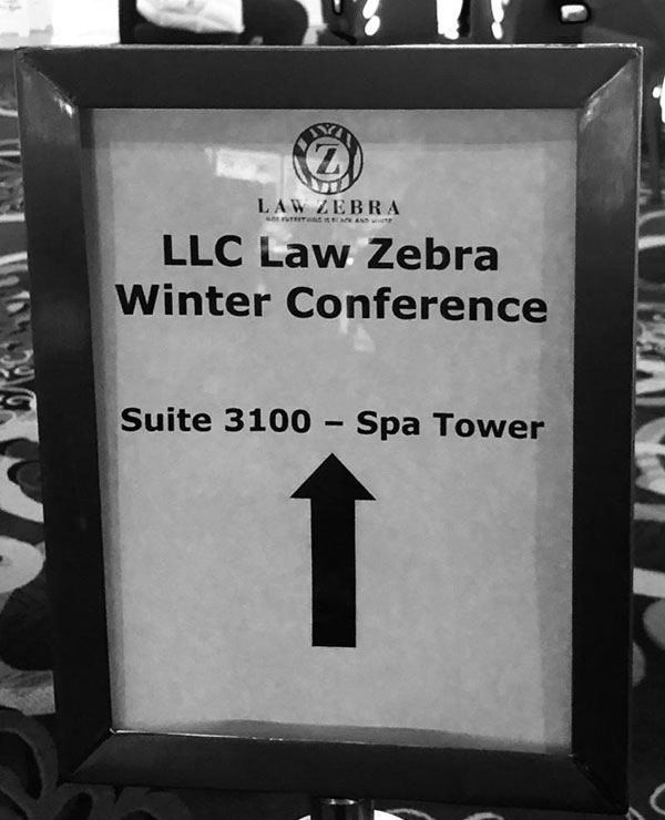 Law Zebra Conference sign